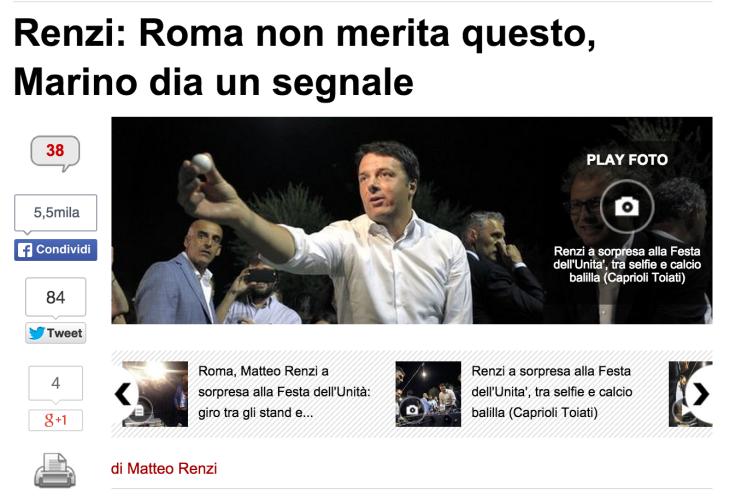 La lettera di Renzi a Marino su Il Messaggero